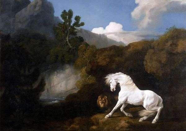 ライオンにおびえている白い馬   George Stubbs