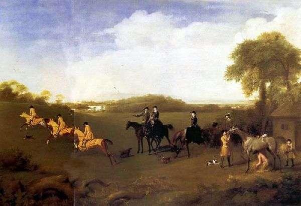 リッチモンド公爵夫人とレノックス夫人、公爵の馬場馬術を見て   ジョージスタブス