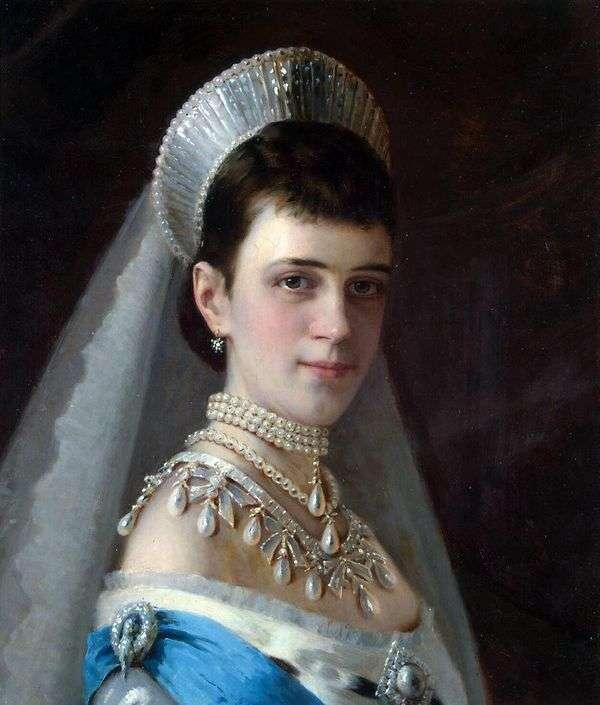 真珠の帽子   イワンKramskoyの皇后マリアFeodorovnaの肖像画
