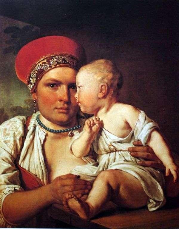 子供と一緒に濡れた看護師   Alexey Venetsianov