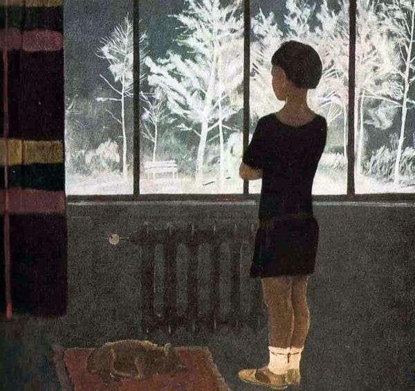 冬 窓際の女の子   Alexander Deineka