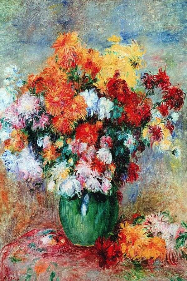 菊の花束   ピエールオーギュストルノワール