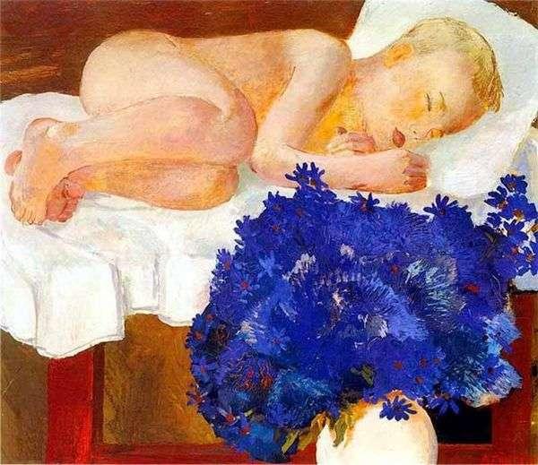 ヤグルマギクと眠っている子供   Alexander Deineka