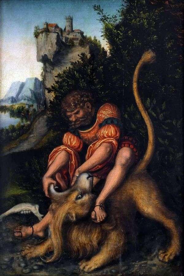 サムソンはライオンと戦って   Lucas Cranach