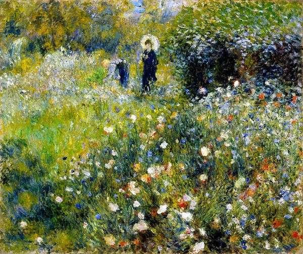 庭の傘を持つ女性   Pierre Auguste Renoir