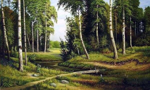 白樺の森のクリーク   Ivan Shishkin