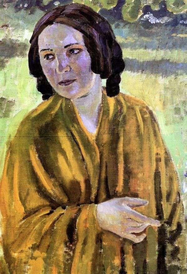 黄色のショールの女の子   Victor Borisov Musatov