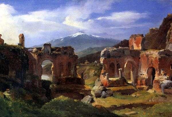 タオルミーナ(シチリア島)の劇場の遺跡   Ashil Etna Michalon