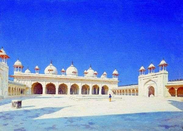 アグラのMoti Masjid(Pearl Mosque)   ヴァシリーVereshchagin