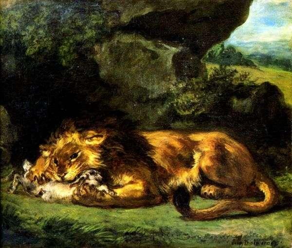 ウサギのライオン   ユージーンドラクロワ