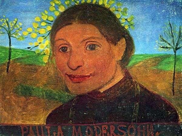 開花木を背景にした自画像   ポーラ・モダーン・ベッカー