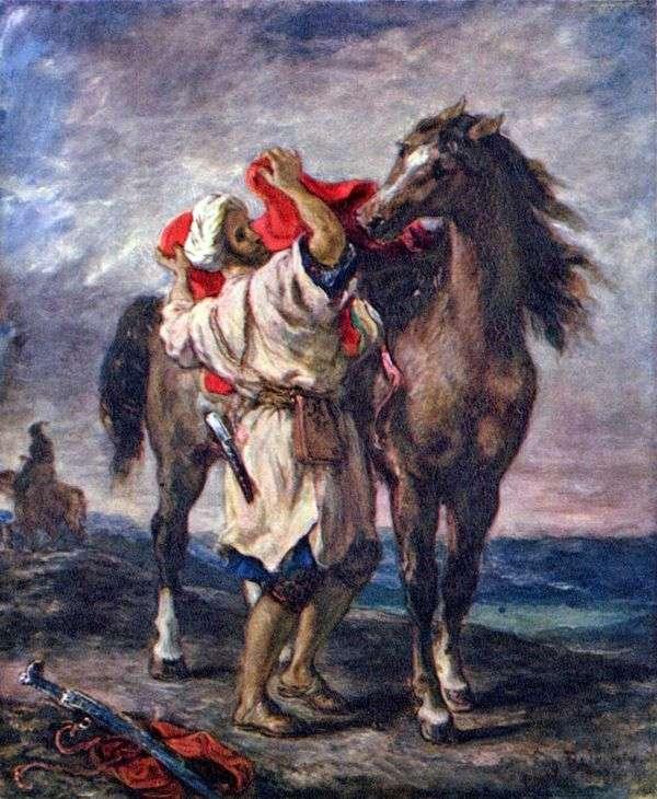 モロッコの馬を抱きしめる   Eugene Delacroix