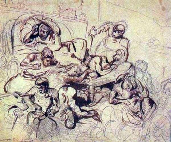サルデナパラの死   ユージーン・ドラクロワの絵画のためのスケッチ