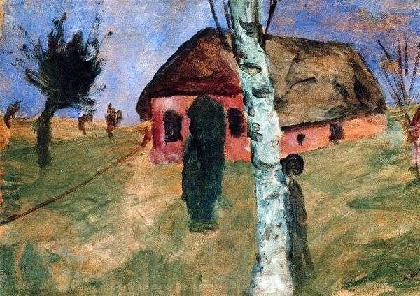 赤い家と白樺の木   ポーラ・モダーン・ベッカー