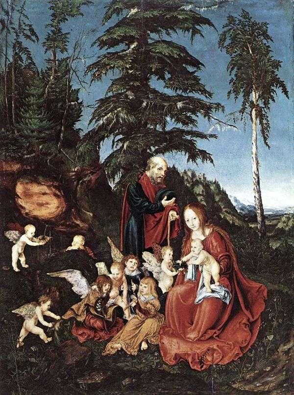 エジプトへのフライトで休む   Lucas Cranach