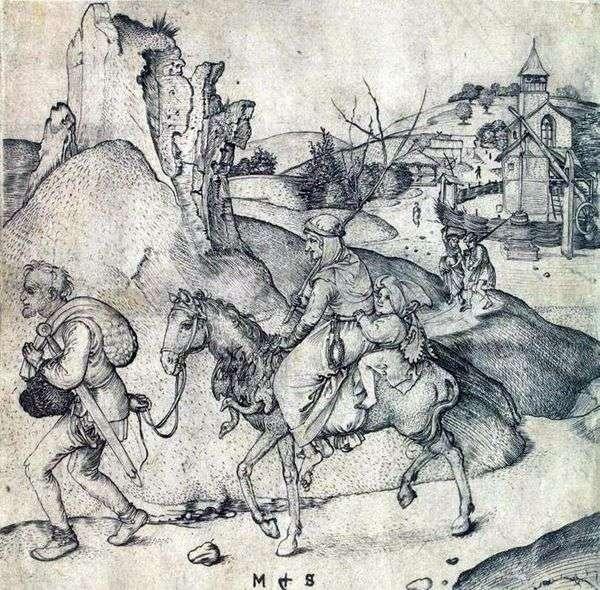 市場に行く途中の農民の家族   Martin Schongauer