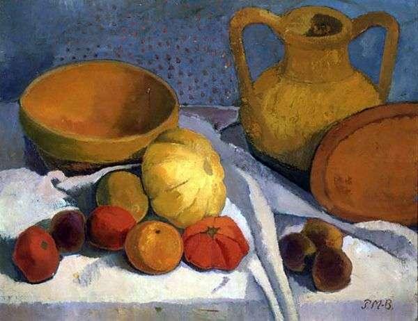 黄色いボールと陶器の水差しのある静物   Paula Modernson Becker