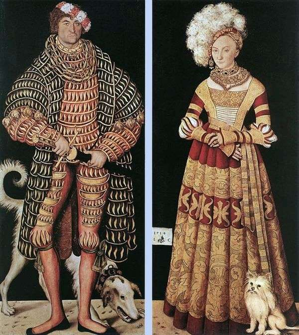 公爵夫人ハインリッヒとメクレンブルクの彼の妻キャサリン公爵の肖像   ルーカス・クラナハ