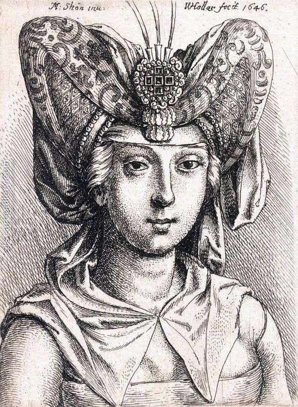 ターバン   Martin Schongauerの若い女性の肖像画