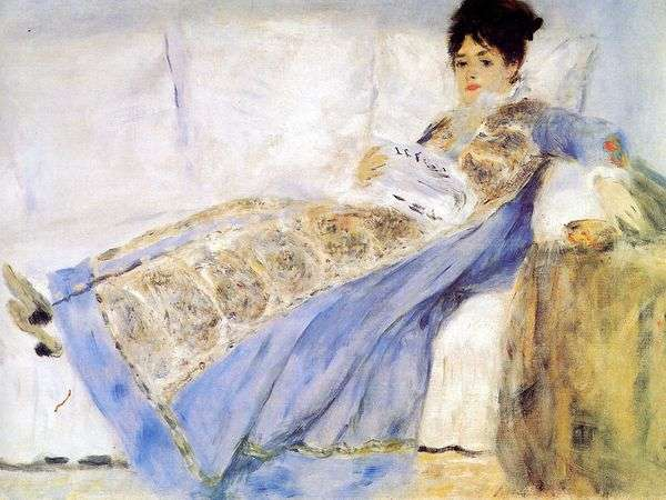 ソファの上のクロードモネの妻の肖像   ピエールオーギュストルノワール