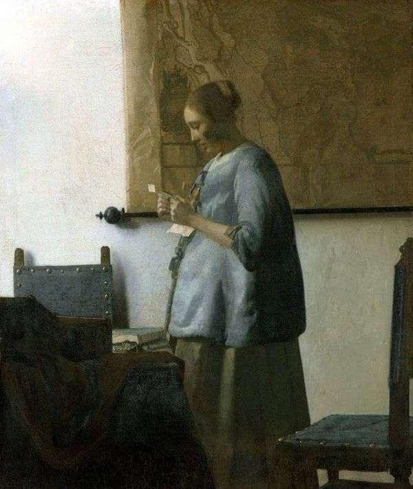 手紙を読んで青い服を着た女性   Jan Vermeer