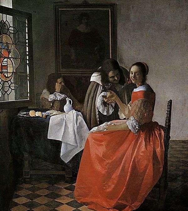 女性と2人の紳士   Jan Vermeer