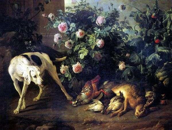 犬とローズバッシュのバットゲームのある静物   Francois Deport