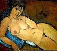 青い枕の上のヌード   Amedeo Modigliani