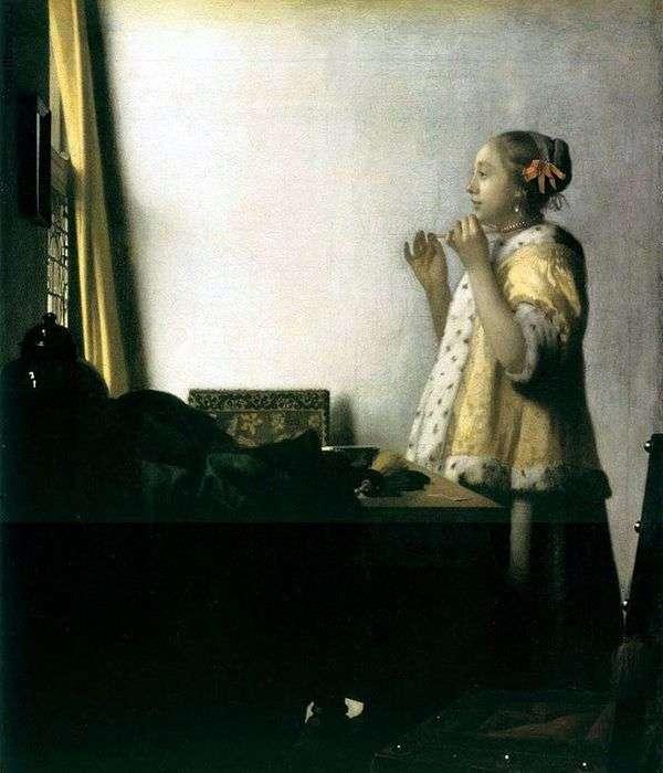 ネックレスを試着している女の子   Jan Vermeer