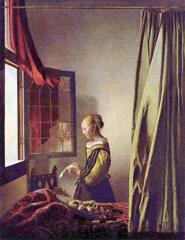 開いているウィンドウで手紙を読んでいる女の子   Jan Vermeer