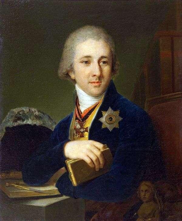 作家、青いカフタン   ウラジミールBorovikovskyのフリーメーソンのアレクサンダーF. ラブジンの肖像画