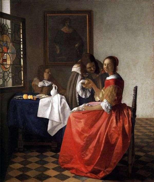 女性と二人の紳士   Jan Vermeer