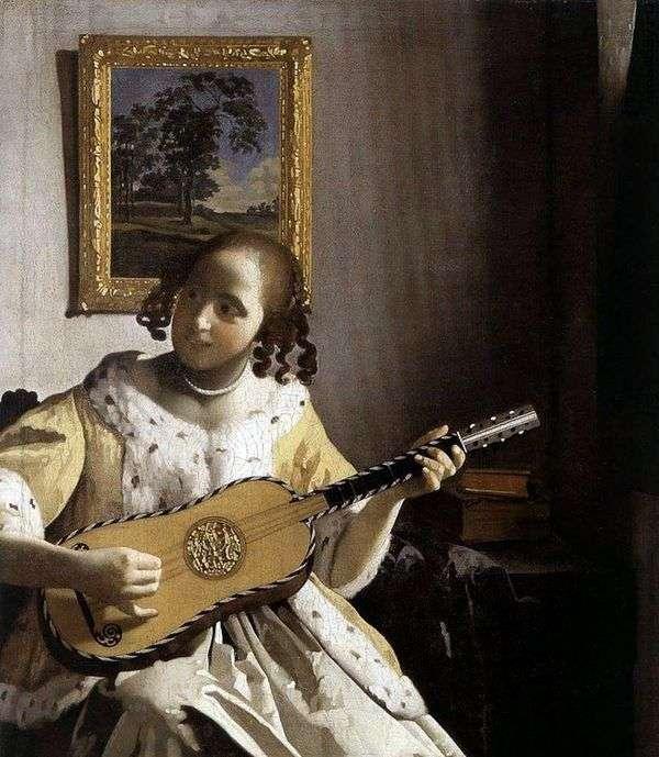 ギターを持つ若い女   Jan Vermeer