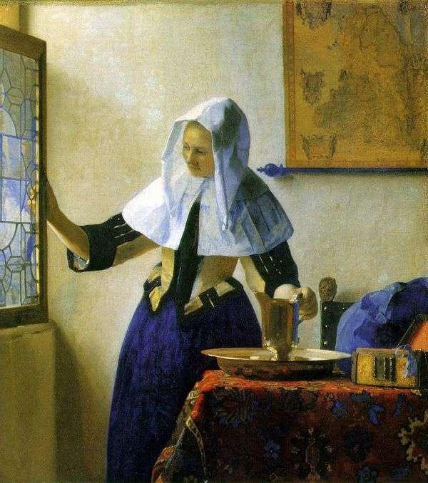 水の水差しを持つ若い女   Jan Vermeer