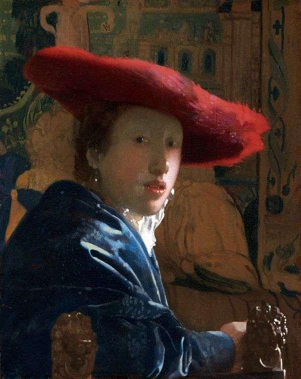 赤   Jan Vermeerの少女の肖像画