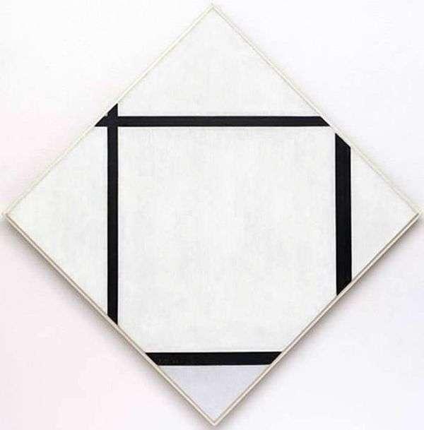 4本の線が付いたグレーのダイヤモンド   Peter Cornelis Mondrian