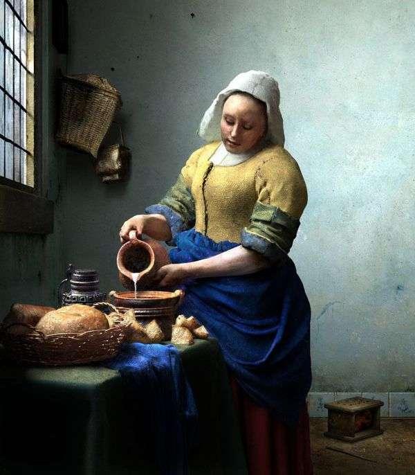 ミルクの水差しのメイド   Jan Vermeer