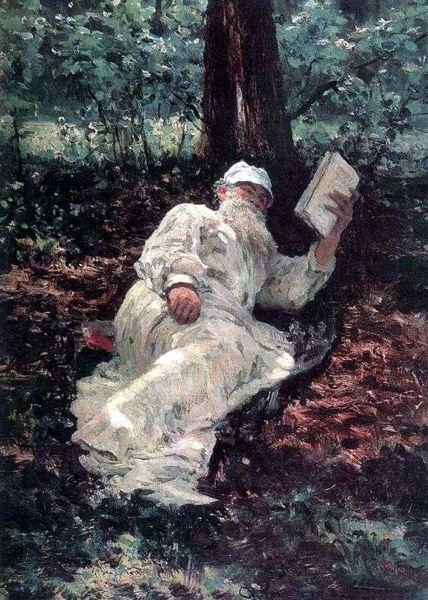 森の中で休暇中にL. N. トルストイ   Ilya Repin