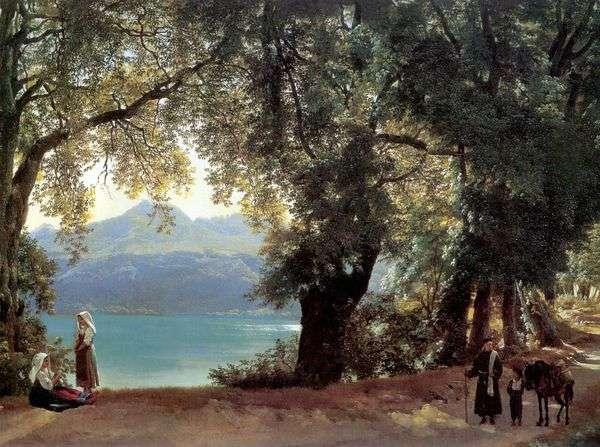 ローマ   シルベストルシュケドリン付近のネミ湖の眺め