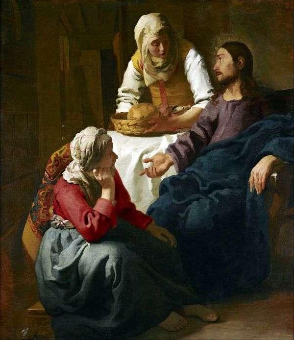 マルタとマリアの家の中のキリスト   Jan Vermeer