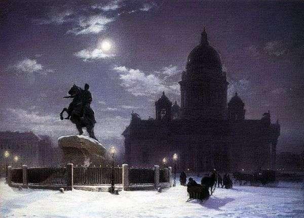 サンクトペテルブルク   ヴァシリー・スリコフのピーター1世の記念碑の眺め