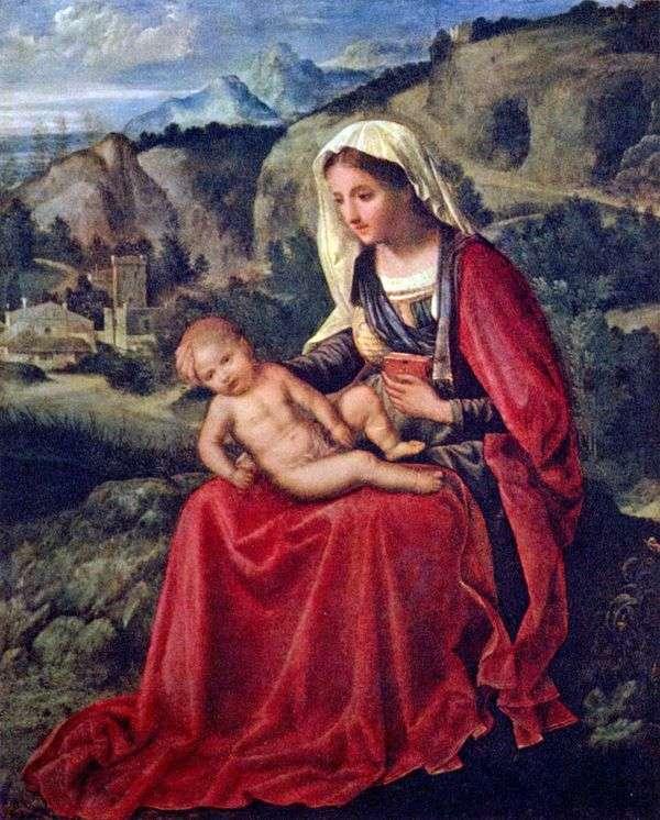 風景の背景に赤ちゃんと聖母マリア   ジョルジョーネ