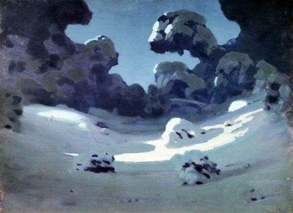 森の中の月光スポット。冬   Arkhip Kuindzhi