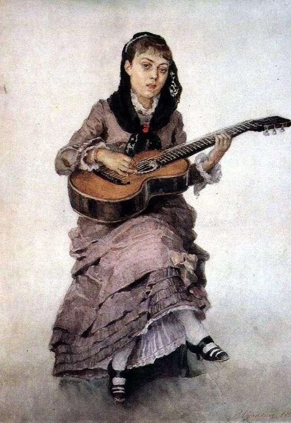 ギター   Vasily SurikovとプリンセスS. A. Kropotkinaの肖像画