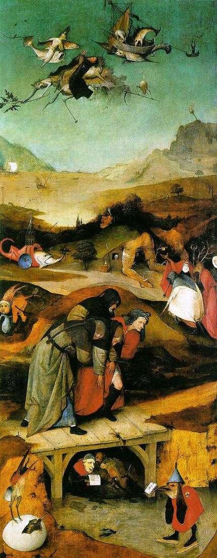 飛行と聖アントニウスの秋。トリプティク左翼   ヒエロニムスボッシュ