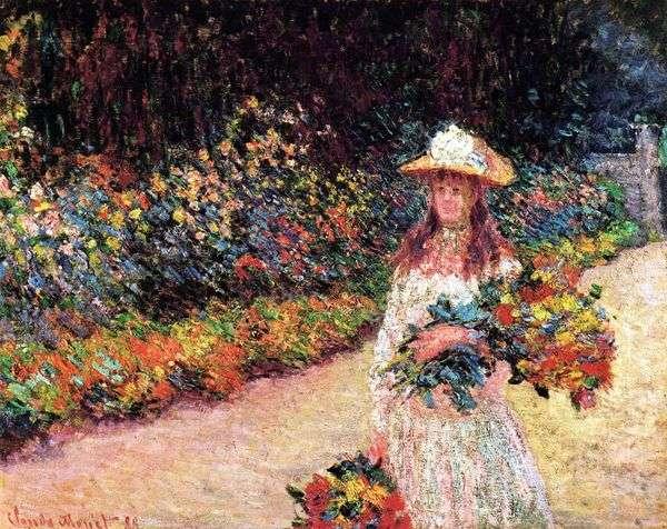 庭の少女、ジヴェルニー   クロード・モネ