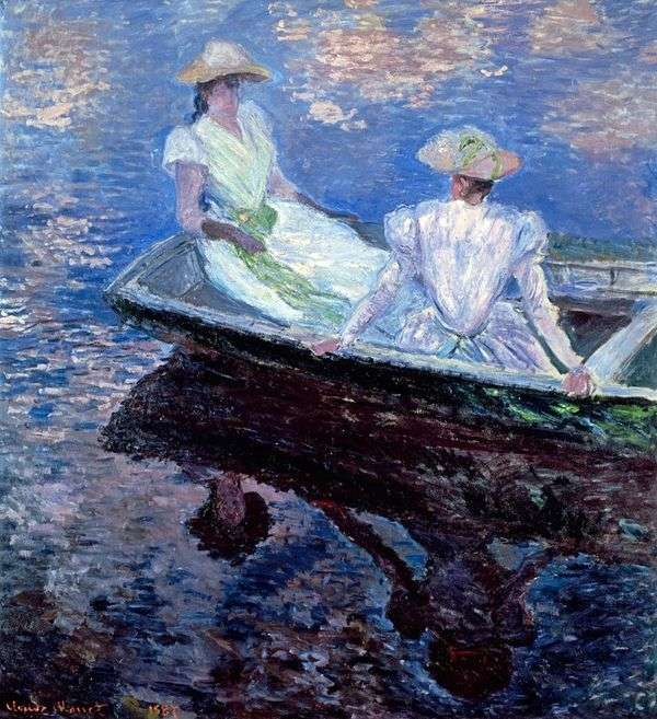 青い船の中の女の子   クロード・モネ