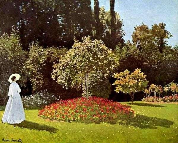 Saint Adressの庭の女(庭のJeanne Margarita Lecadre)   クロード・モネ