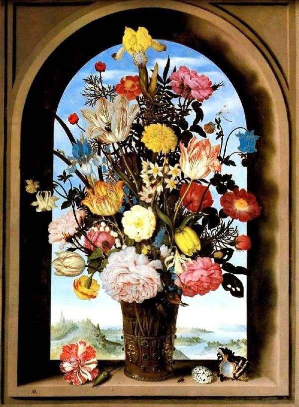 アーチ型の窓の花束   Ambrosius Boshart