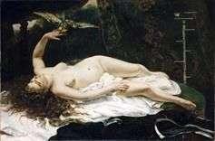 オウム   ギュスターヴ・クールベを持つ女性